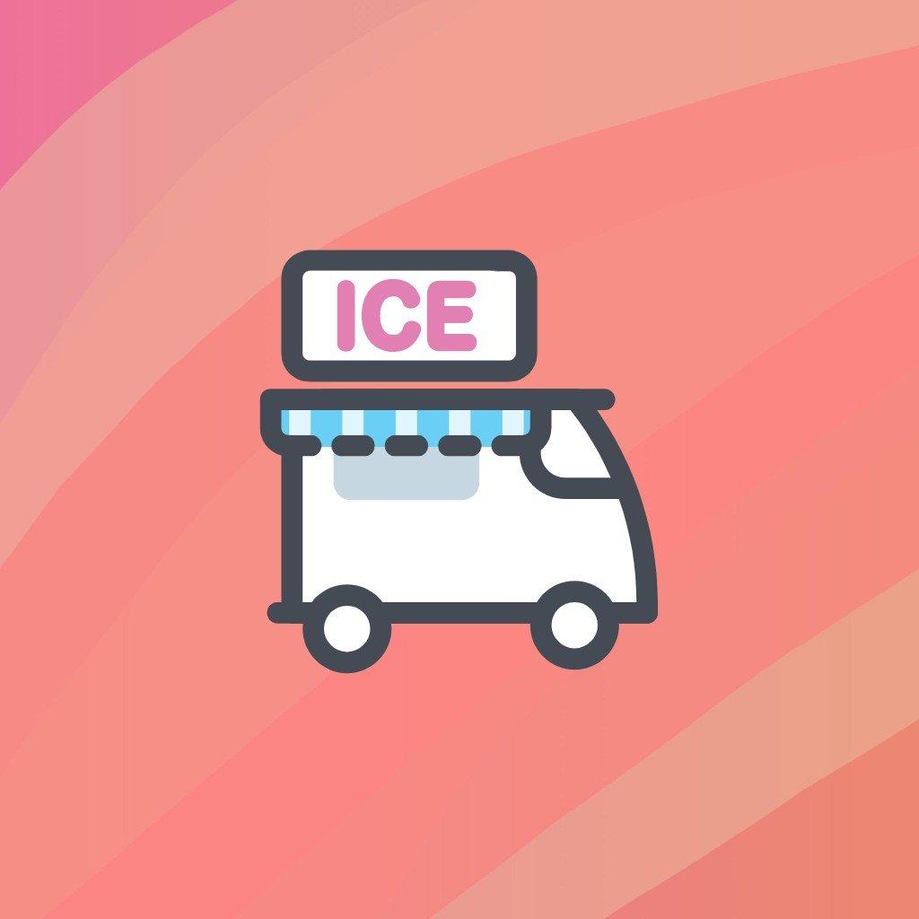 ice cream van red background